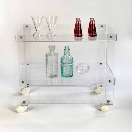 Modern 2 shelves food-trolley L 60,5 cm in plexiglass, Diso