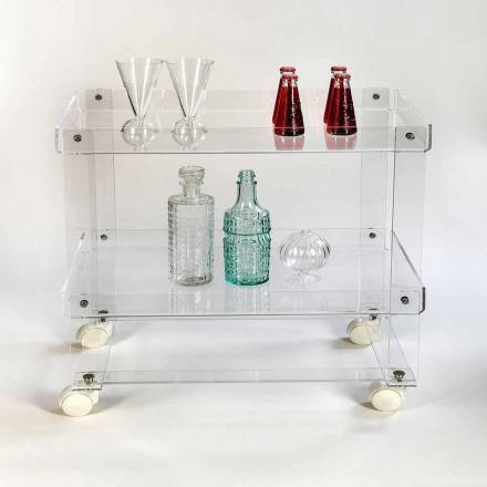 Modern 2 shelves food-trolley L 60,5 cm in plexiglass, Diso