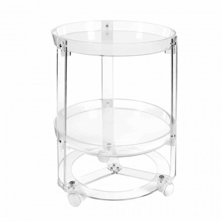 Round Kitchen Trolley in Transparent or White Plexiglass with Wheels - Teseo