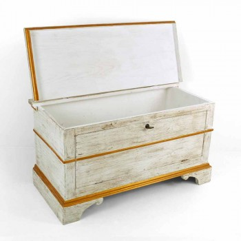 Chest Handmade in Solid Wood with Gold Profiles Made in Italy - Caio