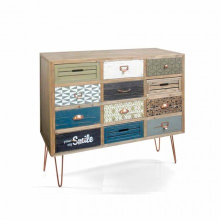 Designer chest of drawers with 12 drawers Chandra, made of solid wood
