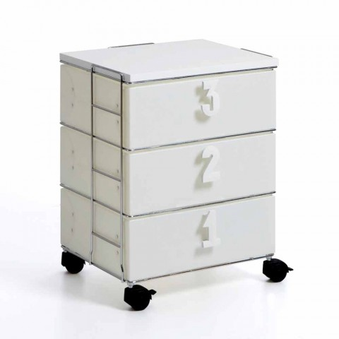 3 drawer chest of drawers with numerical handles and white Yodi wheels