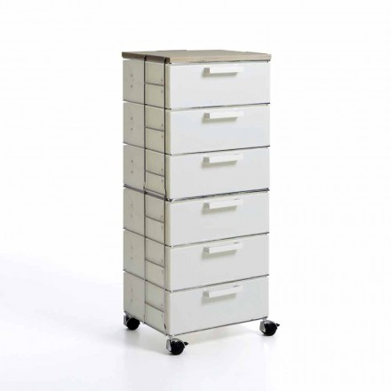 Modern design chest of 6 drawers Irma, with natural wood top