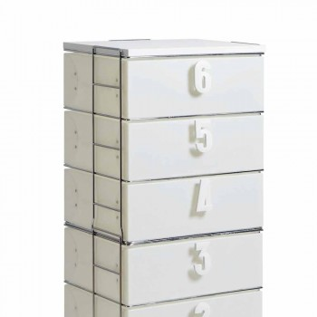 Drawer unit 6 drawers in white MDF with Yodi numerical handles