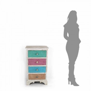 Artisan Chest of Drawers with 4 Drawers in White Wood Made in Italy - Manhattan