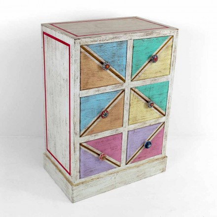 Handcrafted Wooden Chest of Drawers with Colored Drawers Made in Italy - Brighella