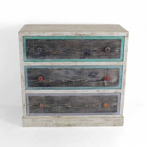 Artisan Chest of Drawers in Fir Wood with 3 Drawers Made in Italy - Monkey