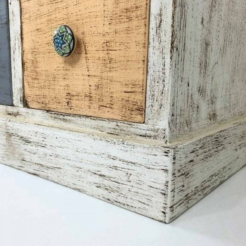 Artisan Chest of Drawers in Solid Wood with 9 Drawers Made in Italy - Pierrot