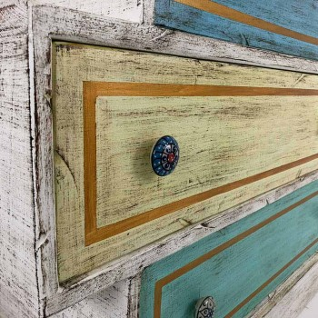 Chest of Drawers with Colored Drawers and Ceramic Knobs Made in Italy - Hendriks