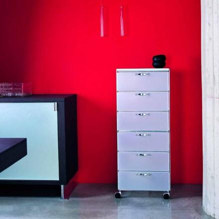 Modern design chest of 6 drawers Adamo, white or grey polypropylene