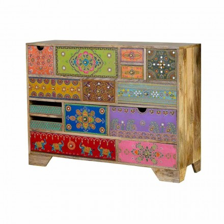 Ethnic Design Chest of Drawers in Mango Wood with Colored Drawers - Piacioro