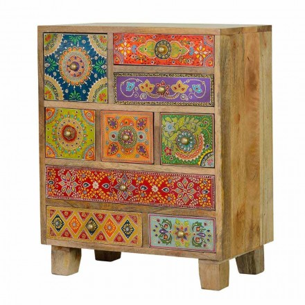 Ethnic Chest of Drawers in Colored Mango Wood Design with 9 Drawers - Like them