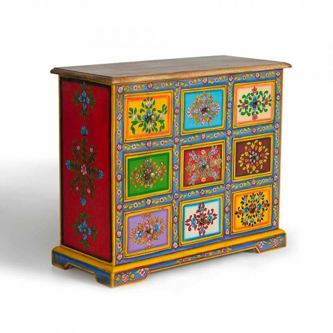 Chest of Drawers in Mango Wood with Colored Hand Painted Details - Baricco