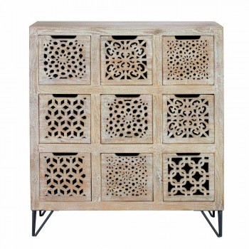 Chest of drawers in bleached mango wood and metal legs in ethnic style - Caruso