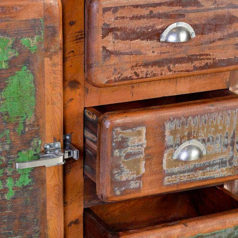 Chest of Drawers in Recycled Wood Colored Vintage Style Design - Wallaby
