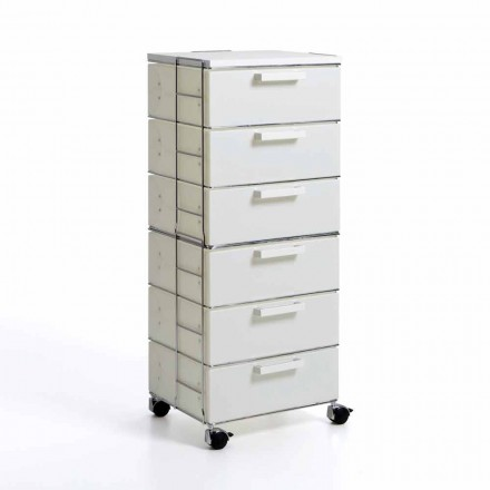Modern design chest of 6 drawers Valerie, white pearl and MDF top