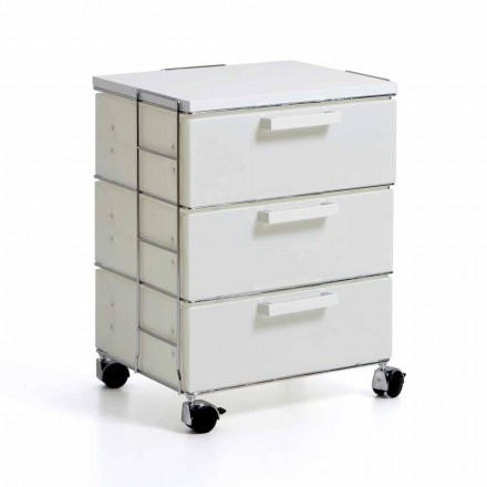 Modern design chest of 3 drawers Valerie, white drawers and MDF top