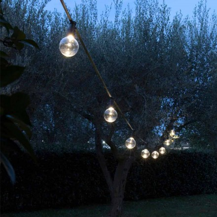Neoprene Outdoor Cable with 8 LED Bulbs Included Made in Italy - Party