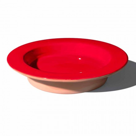 Round Centerpiece in Terracotta and Glazed Ceramic Made in Italy - Brooke