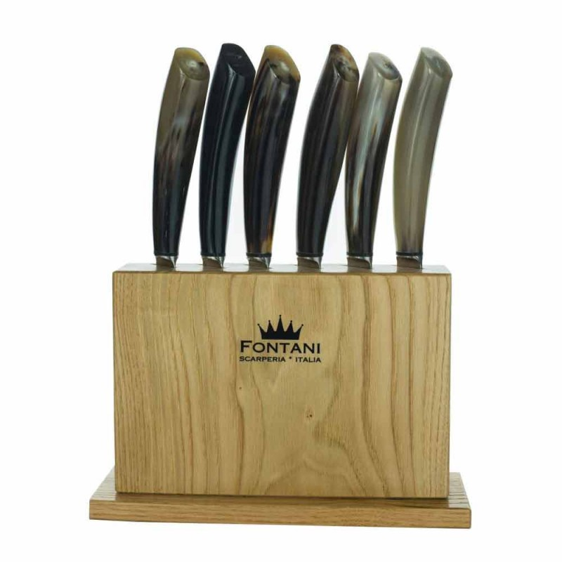 Block in Olive Wood with 6 Steak Knives Made in Italy - Block