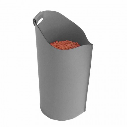 Wood pellet holder made of leather Sapel, modern design