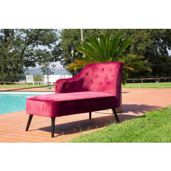 Colored Modern Design Wood and Fabric Chaise Longue - Karla