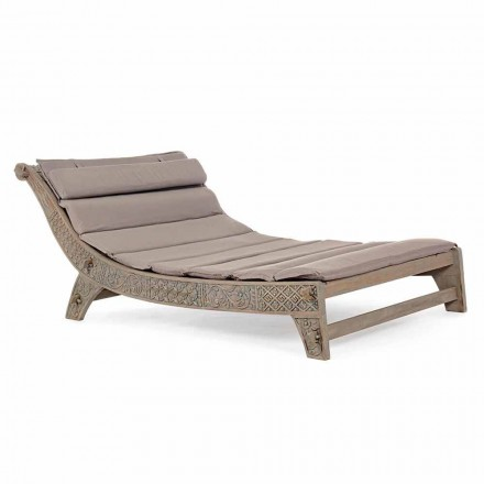 Outdoor Teak Wood Chaise Longue with Homemotion Inlays - Giobbe