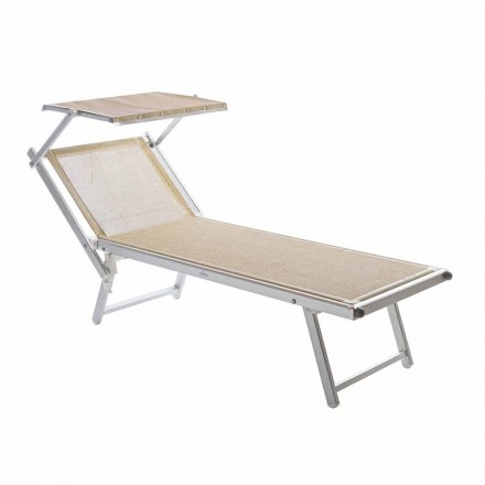 Modern Garden Chaise Longue with Parasol and Reclining Backrest - Arnold