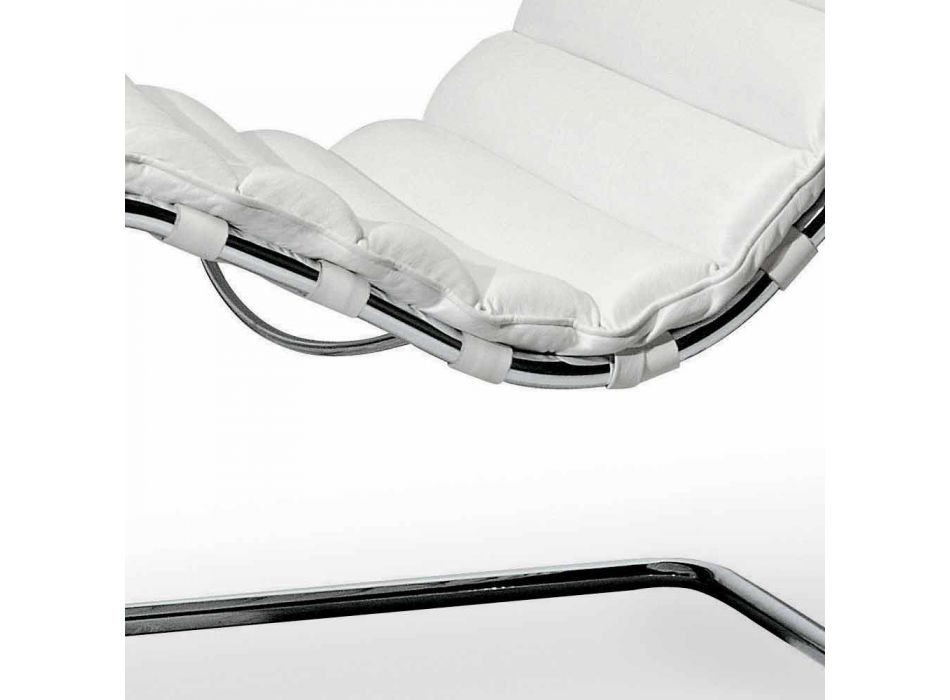 Chromed Steel Chaise Longue with Leather Seat Made in Italy - Diamond