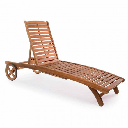 Garden Chaise Longue in Wood with Design Wheels for Outdoor - Roxen