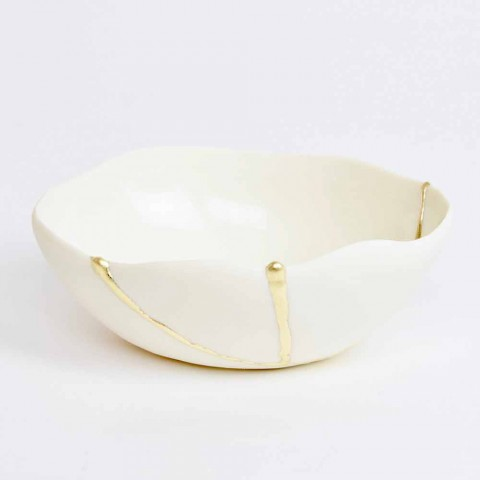 Bowls in White Porcelain and Gold Leaf Italian Luxury Design - Cicatroro