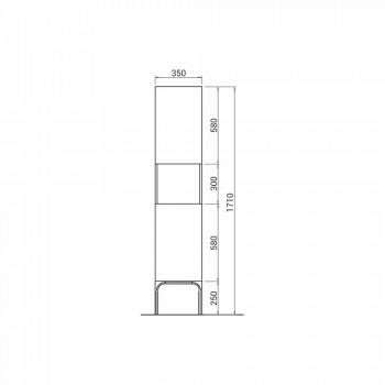 Bathroom column with 2 doors in modern design eco-wood Ambra, made in Italy