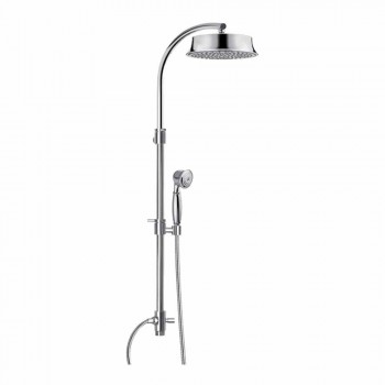 Classic Brass Shower Column with Round Shower Head Made in Italy - Yari