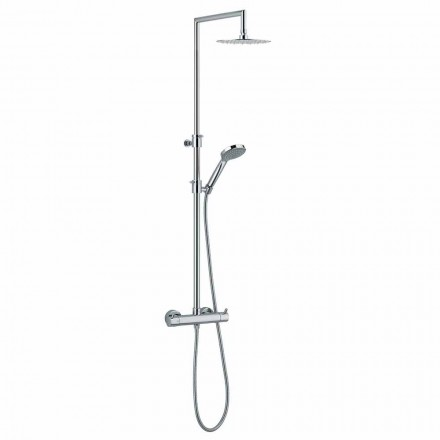 Shower Column with Integrated Diverter in Chromed Brass Made in Italy - Griso
