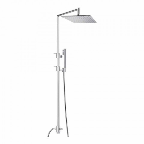 Brass Shower Column with Square Steel Shower Head Made in Italy - Lipari