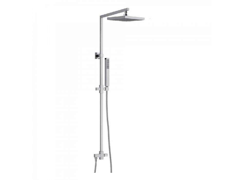 Brass Shower Column with Square Steel Showerhead Made in Italy - Regino