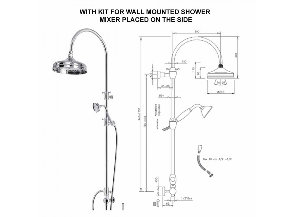 Brass Shower Column with Round Shower Head and Hand Shower Made in Italy - Brillo
