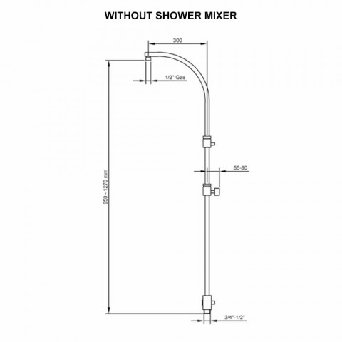 Brass Shower Column with Round Steel Showerhead Made in Italy - Kennedy