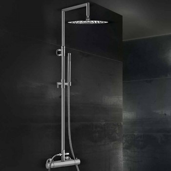 Brass Shower Column with Round Ultrathin Shower Head Made in Italy - Merio