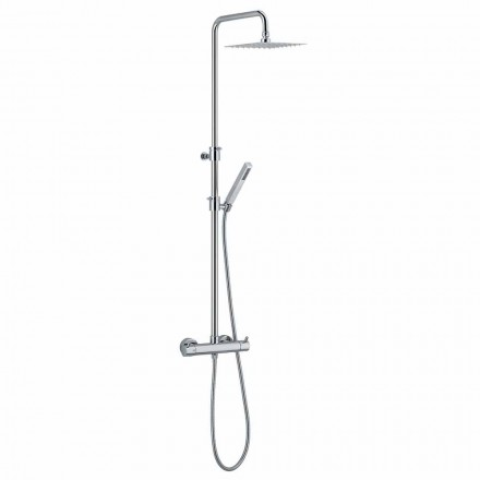 Shower column in chromed brass with square shower head Made in Italy - Griso