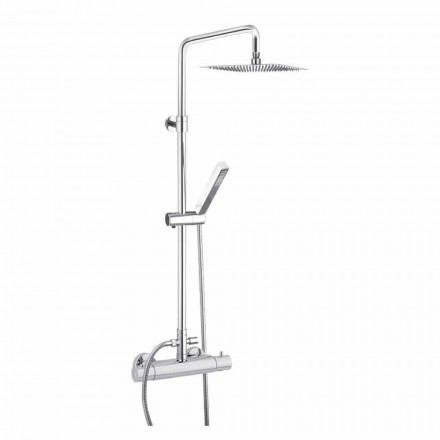 Shower column in chromed brass with square shower head Made in Italy - Studio