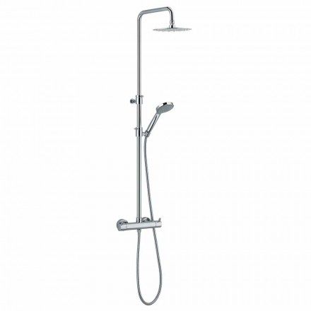 Shower column in chromed brass with round shower head Made in Italy - Griso