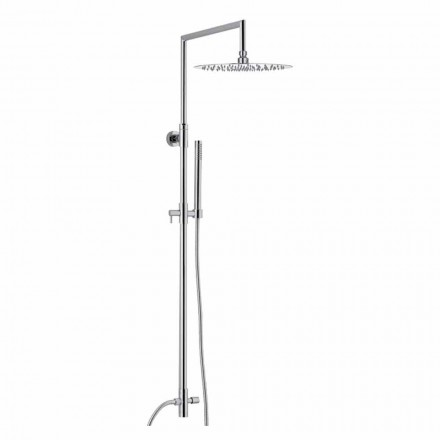 Shower Column in Chromed Brass with Ultraslim Showerhead Made in Italy - Primo