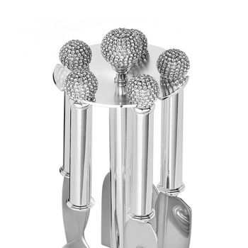 Cheese Knives in Silver Metal with Crystals 5 Pieces - Marfio