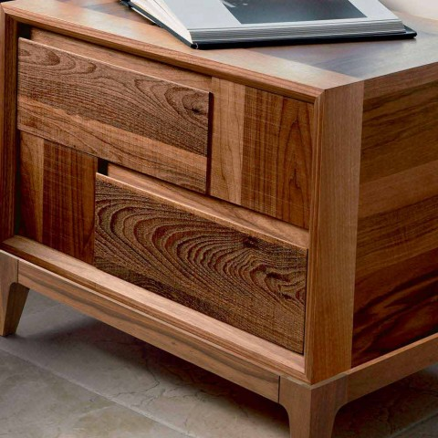 Dresser 2 drawers in modern design walnut solid wood, Nino