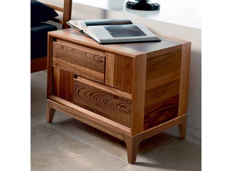 Dresser 2 drawers in modern design walnut solid wood, Nino