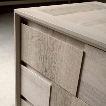Dresser 3 drawers modern design in solid walnut, Nino