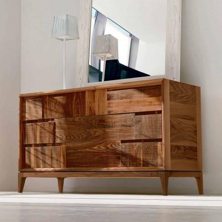 3 drawer dresser Sandro in walnut wood, made in Italy, modern design