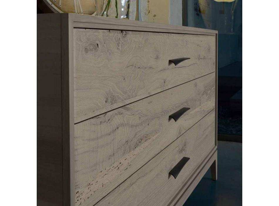 Modern design walnut 3-drawer dresser, W 131 x D 55 x H 80 cm, Sandro