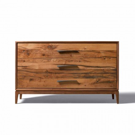 3 drawer dresser Sandro in walnut wood, L 131 x W 55 x H 8 cm